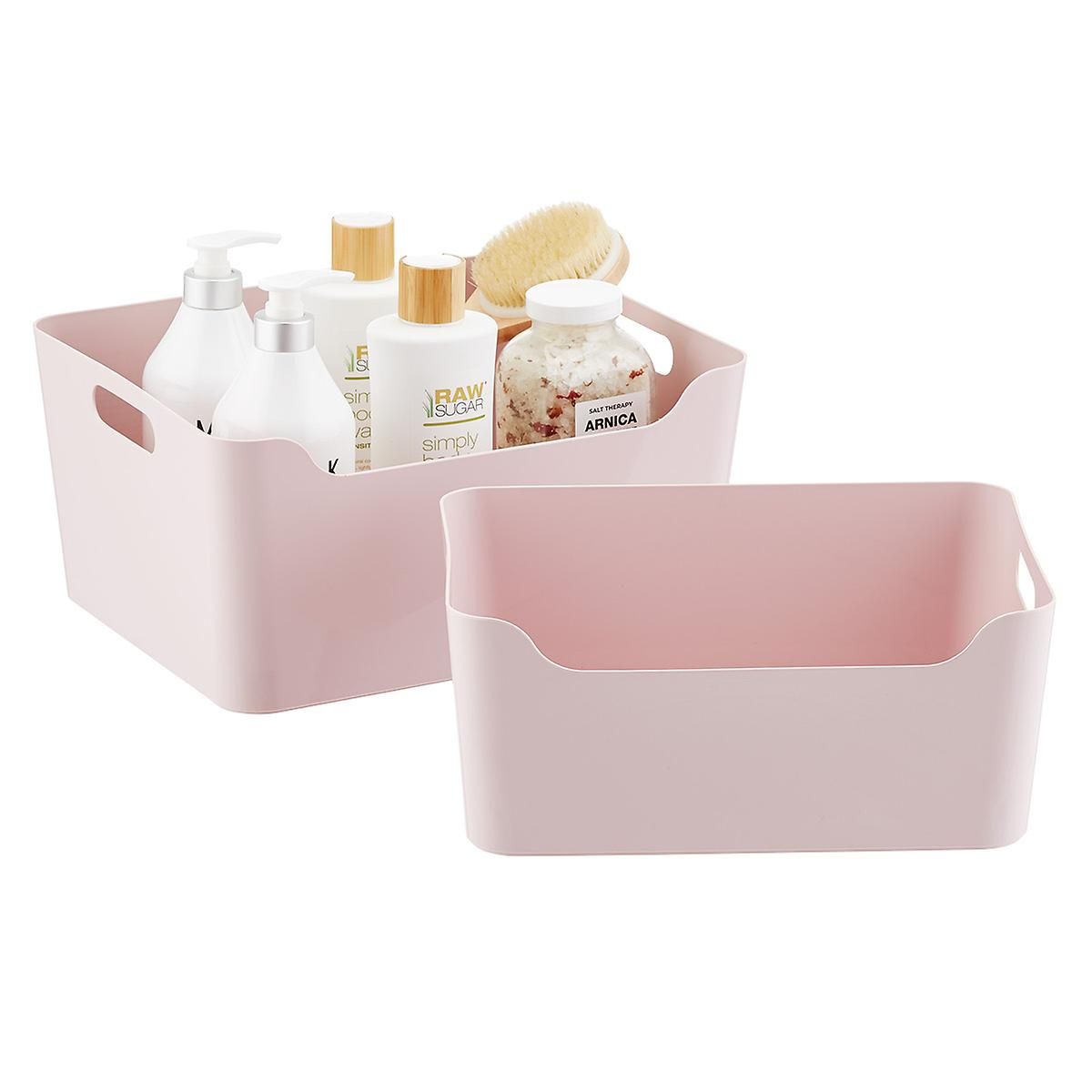 Soft Pink Plastic Storage Bins with Handles