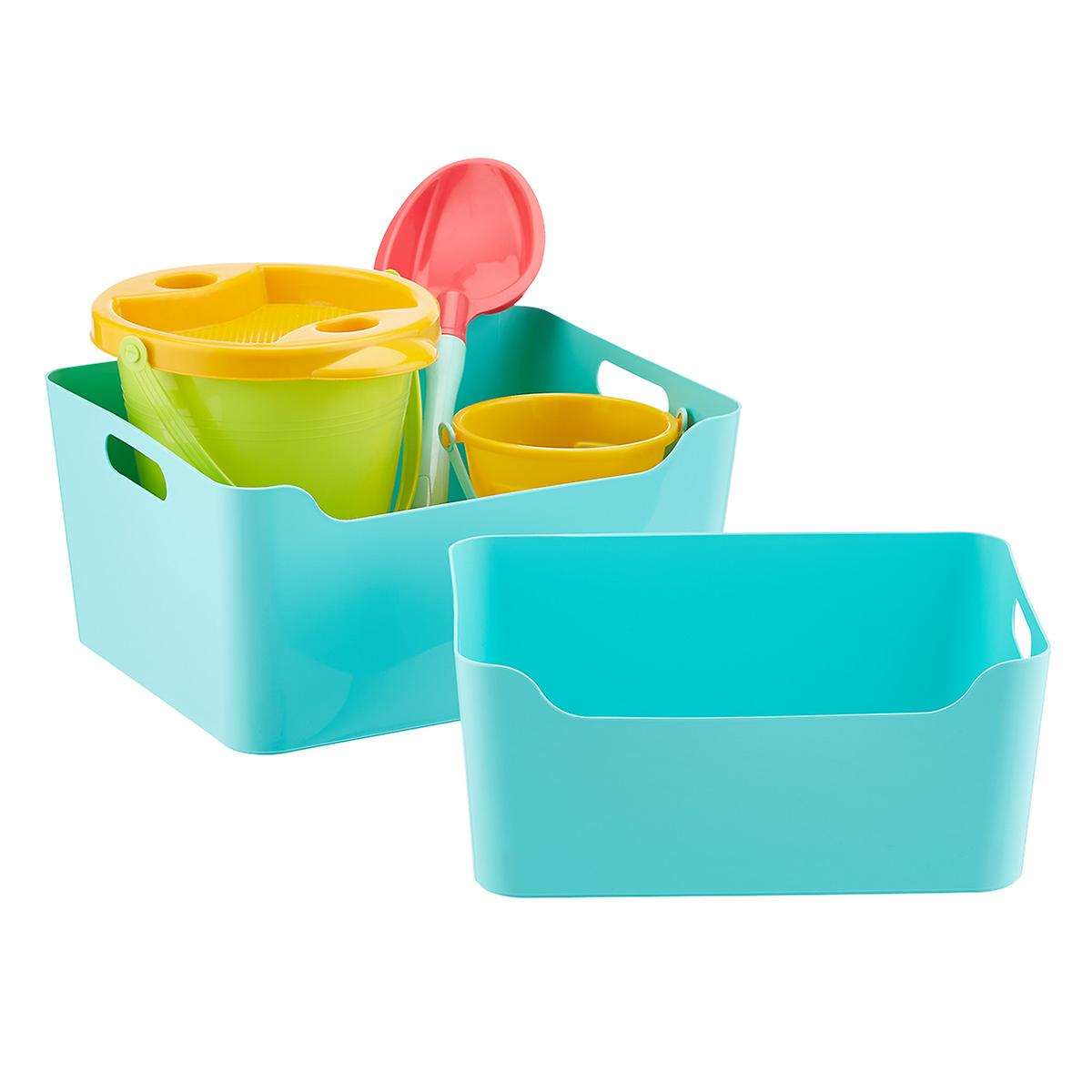 Aquamarine Plastic Storage Bins with Handles