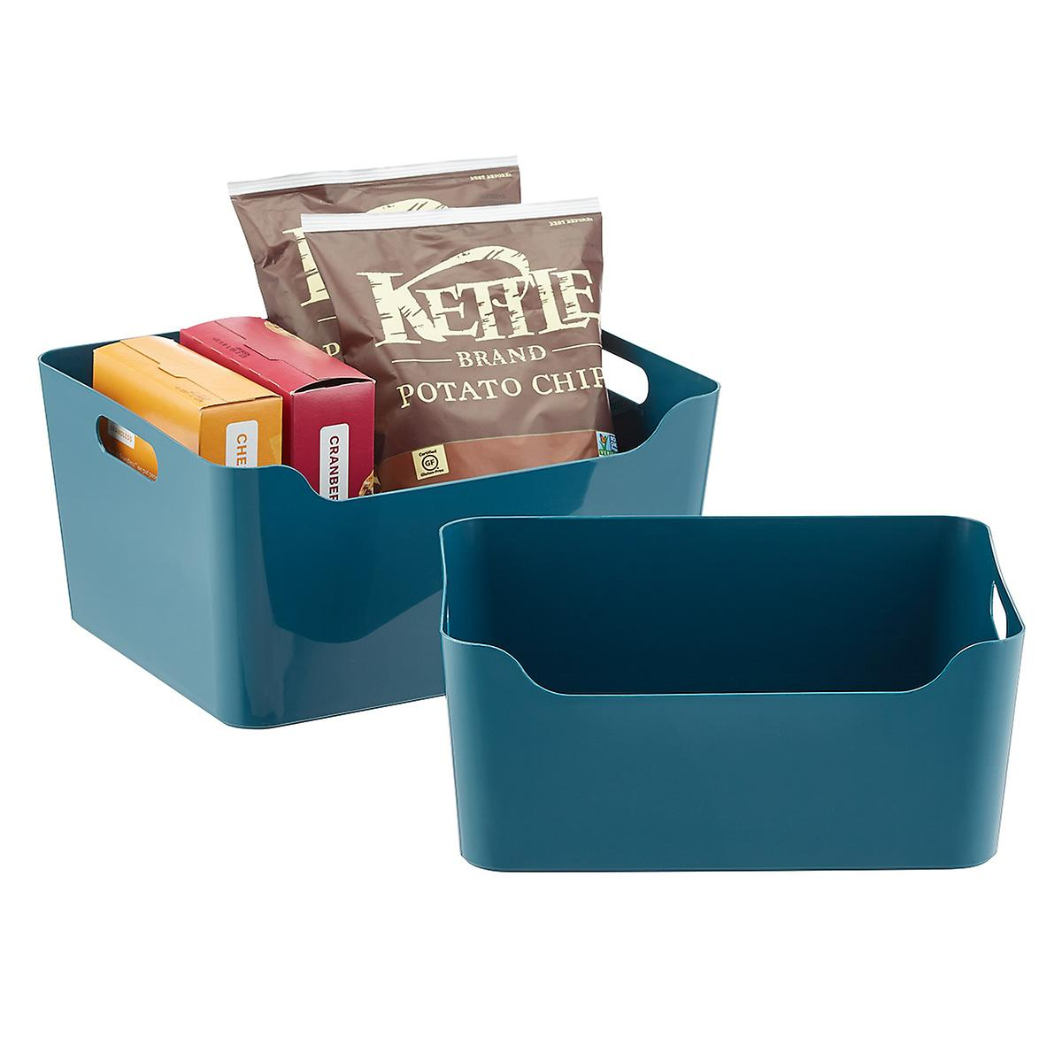 Teal Plastic Storage Bins with Handles
