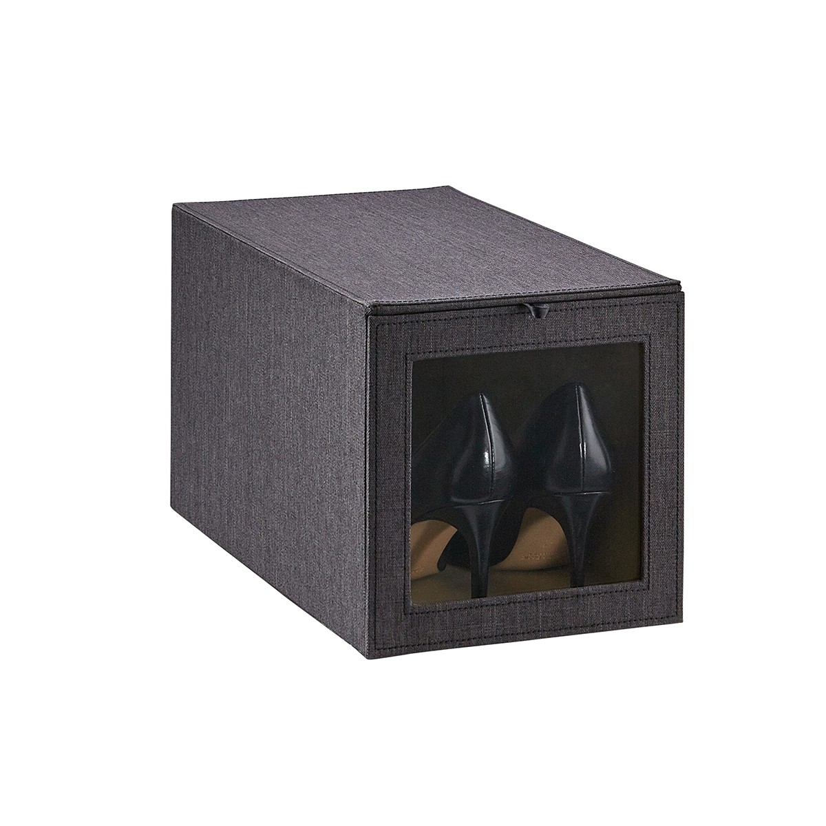 Cambridge Black Tall Drop-Front Shoe Box