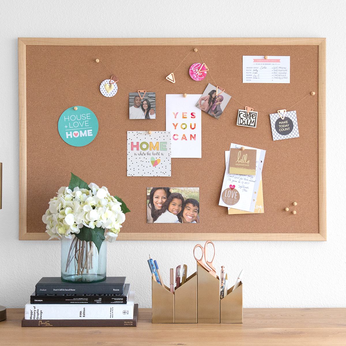 U-Brands Natural Cork Bulletin Boards with Birch Frame