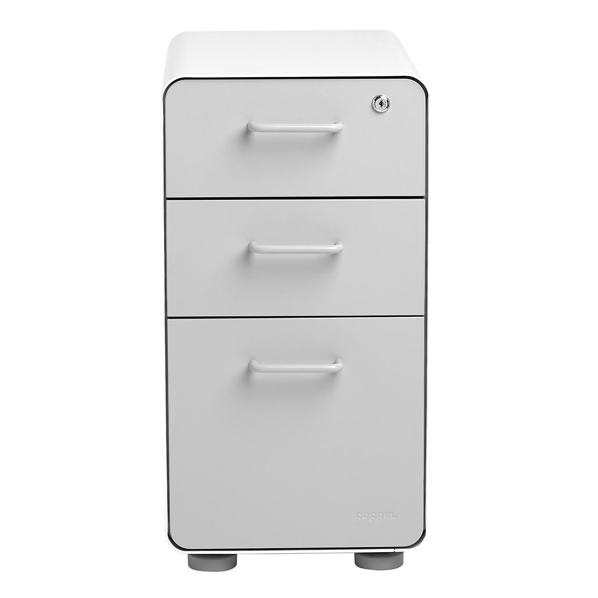 Poppin Light Grey Slim 3-Drawer Stow Filing Cabinet