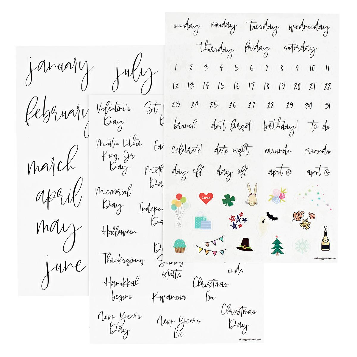 Removable Calendar Calligraphy Decals