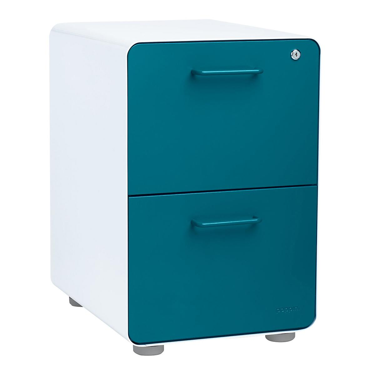 Poppin Teal 2-Drawer Stow Locking Filing Cabinet