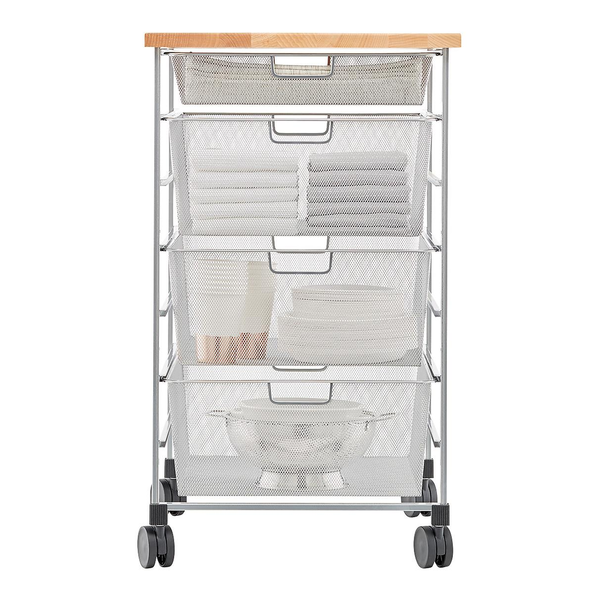 Elfa Platinum 7-Runner Mesh Kitchen Prep Cart