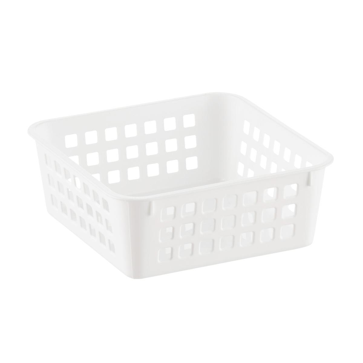 Small White Multipurpose Plastic Storage Basket
