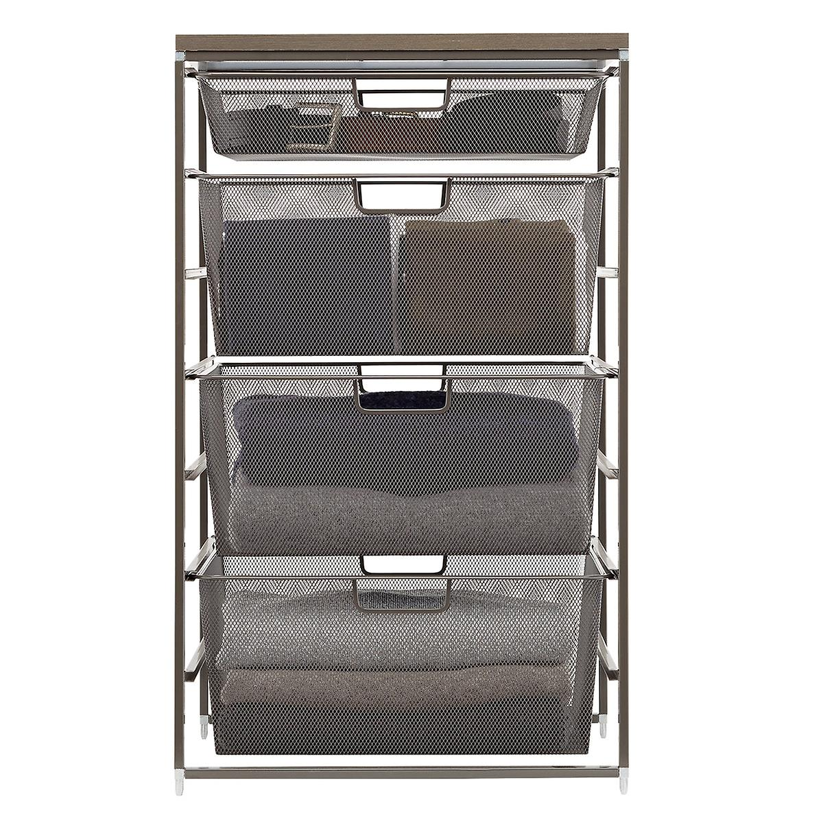 Graphite Elfa Mesh Closet Drawers