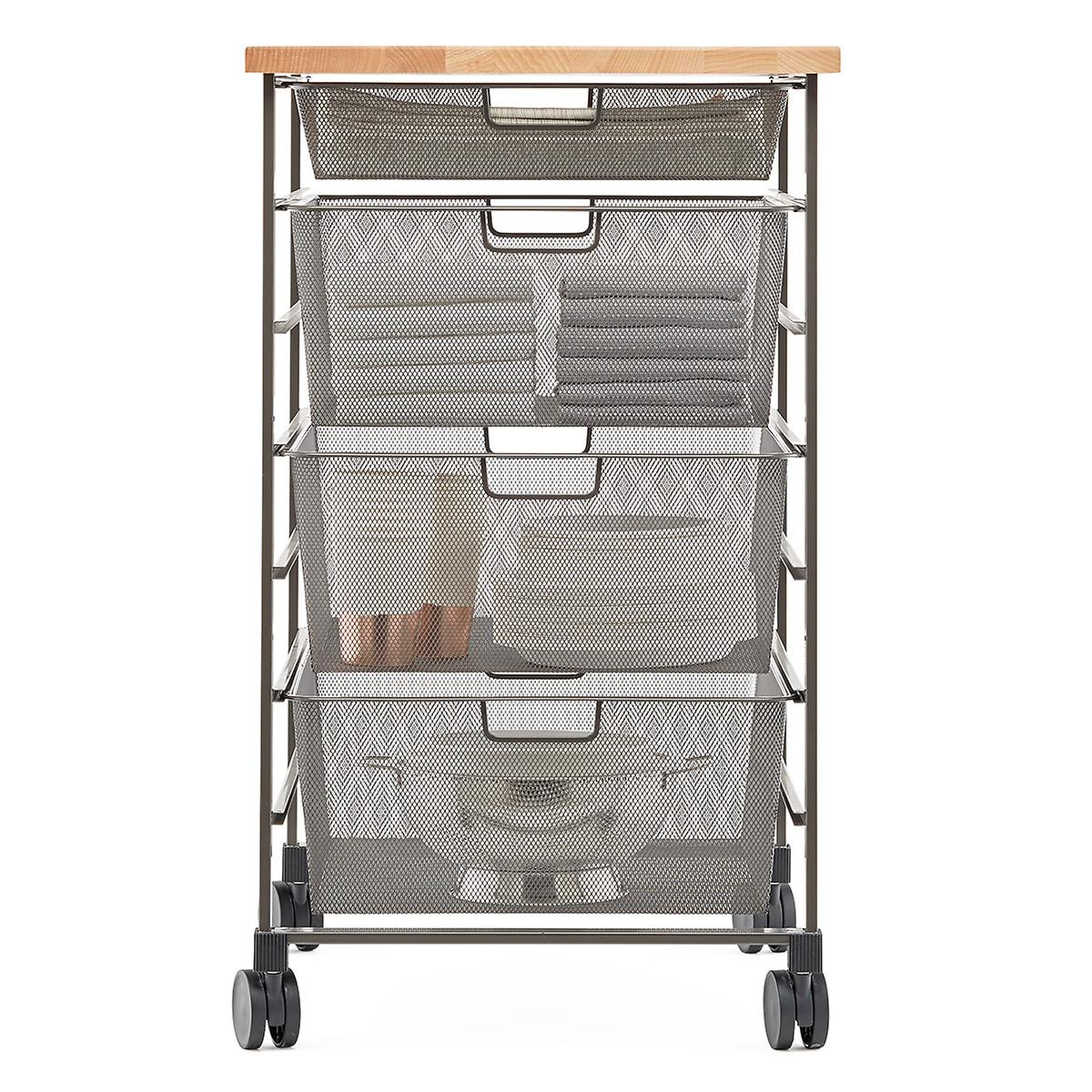 Elfa Graphite 7-Runner Mesh Kitchen Prep Cart