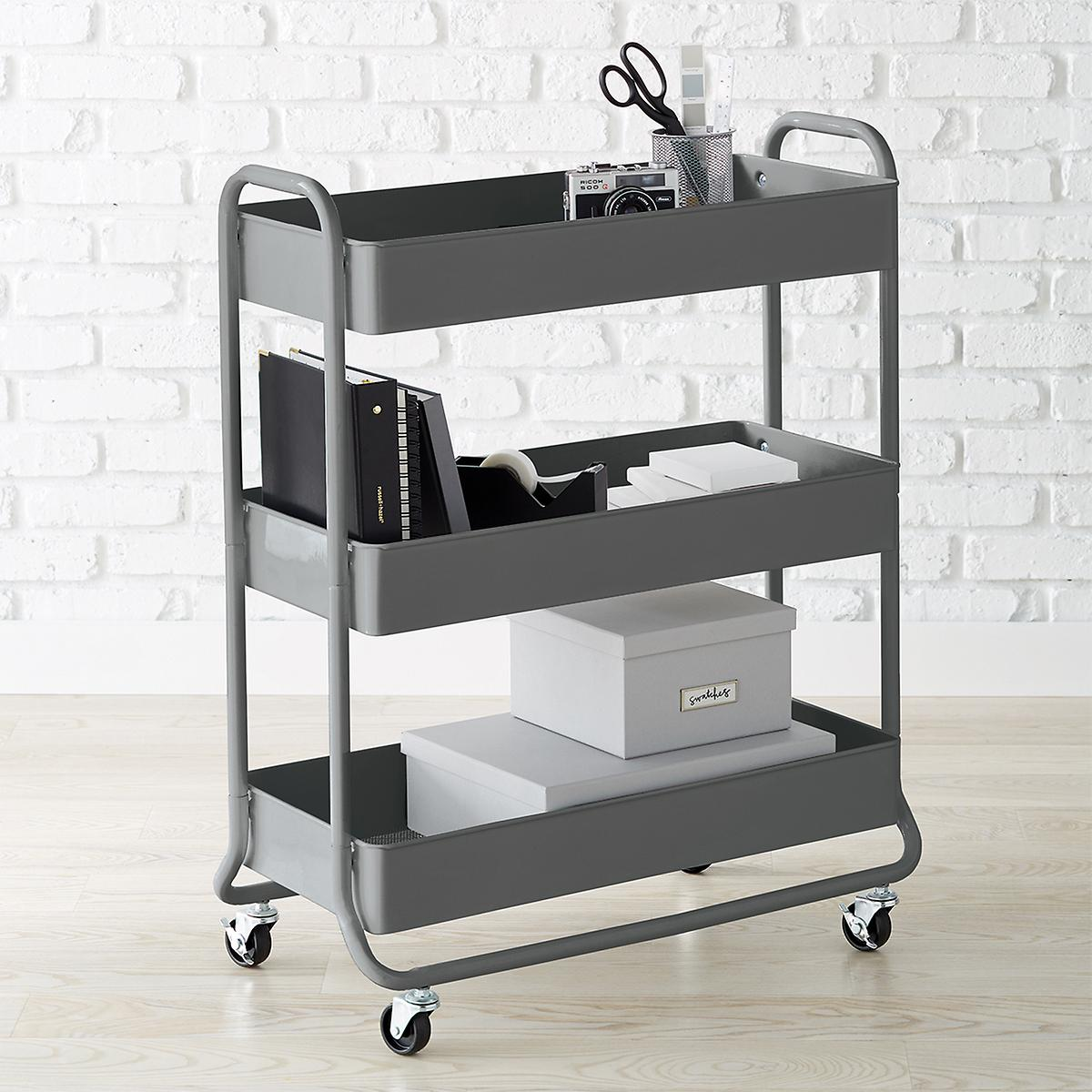 Large Dark Grey 3 Tier Rolling Cart