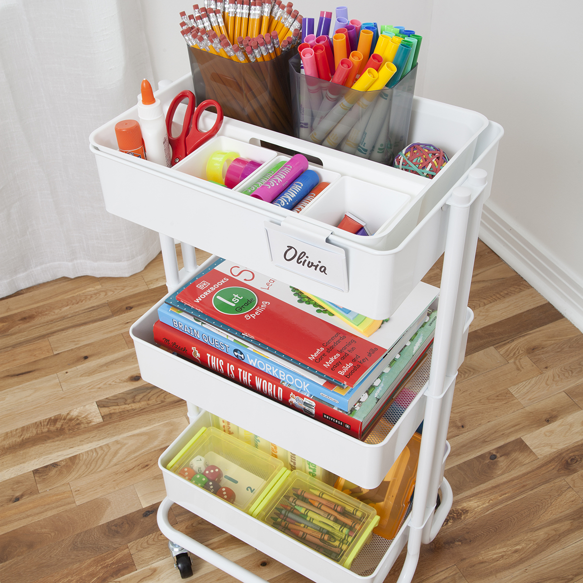 Home Learning White 3-Tier Cart Starter Kit