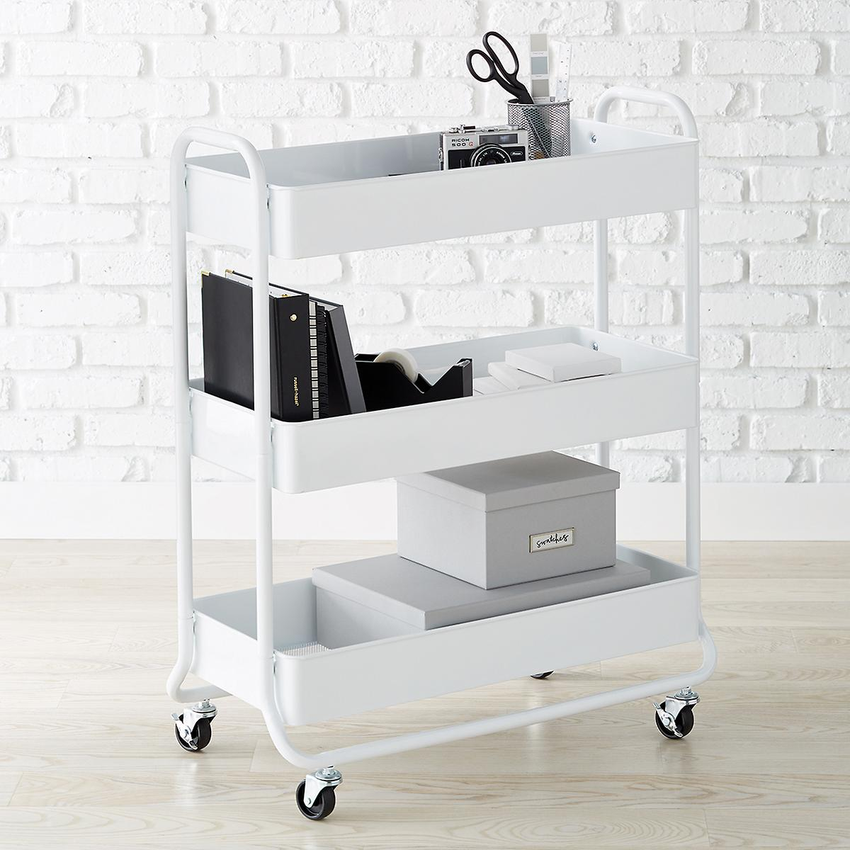 Large White 3 Tier Rolling Cart