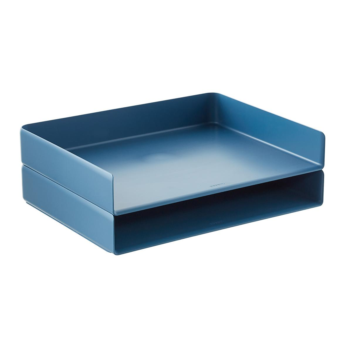Slate Blue Poppin Stackable Landscape Letter Tray