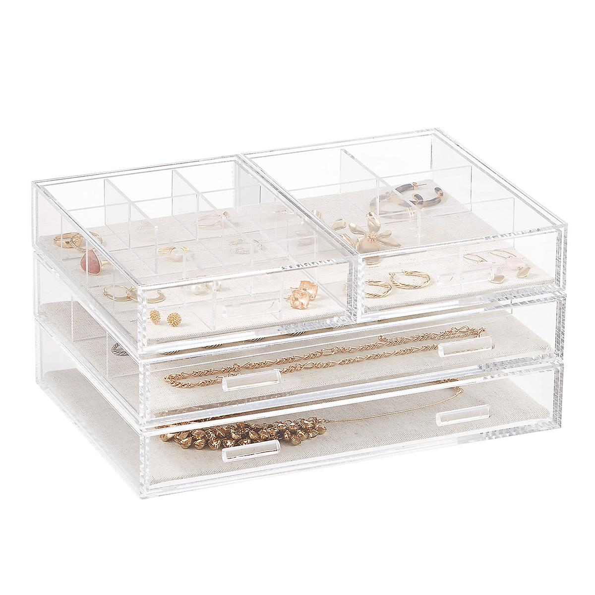 Modular Acrylic Linen Jewelry Drawer System