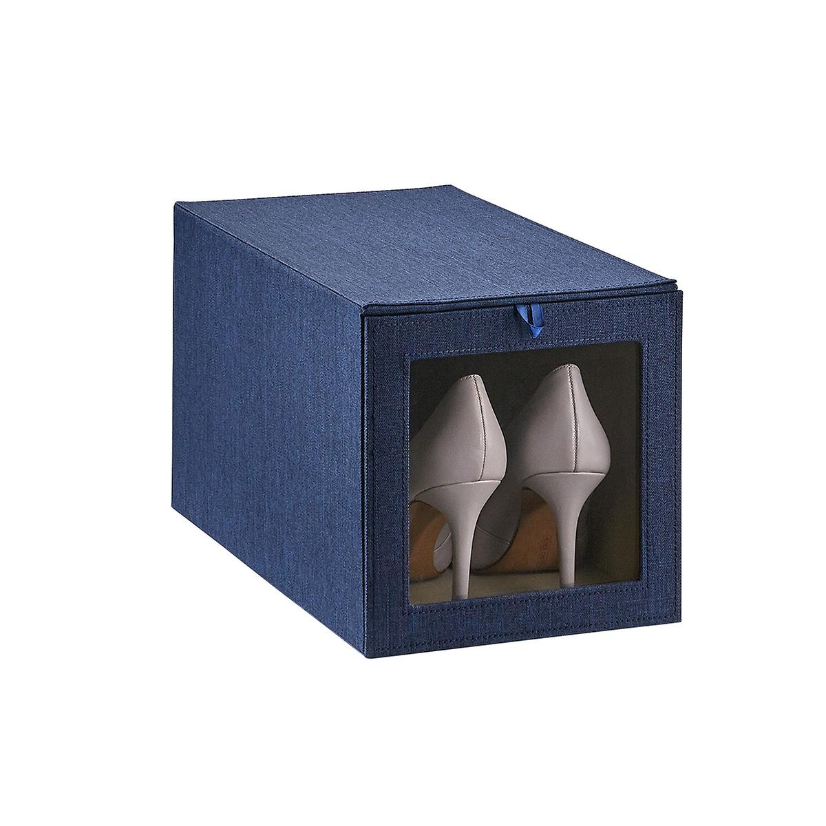 Cambridge Navy Tall Drop-Front Shoe Box