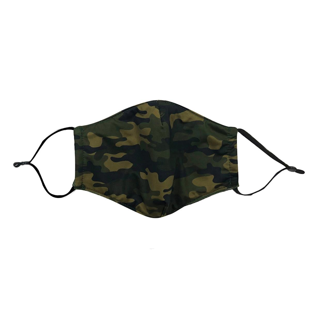 Green Camo Care Cover Face Mask