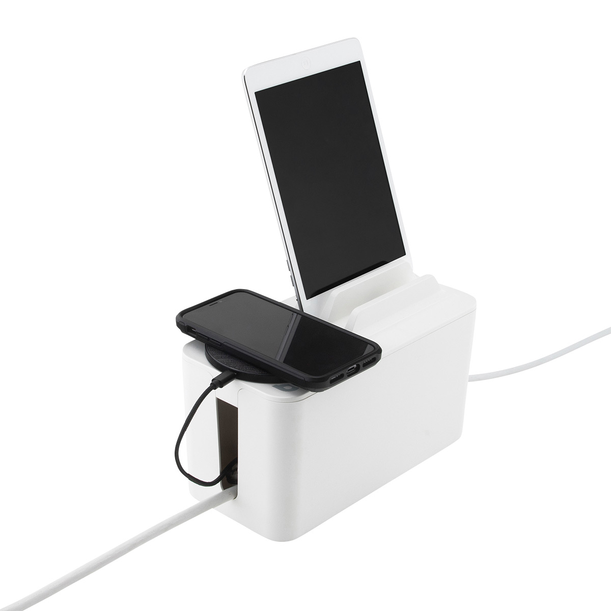 Bluelounge White Mini CableBox with Power Strip & Organizer Lid