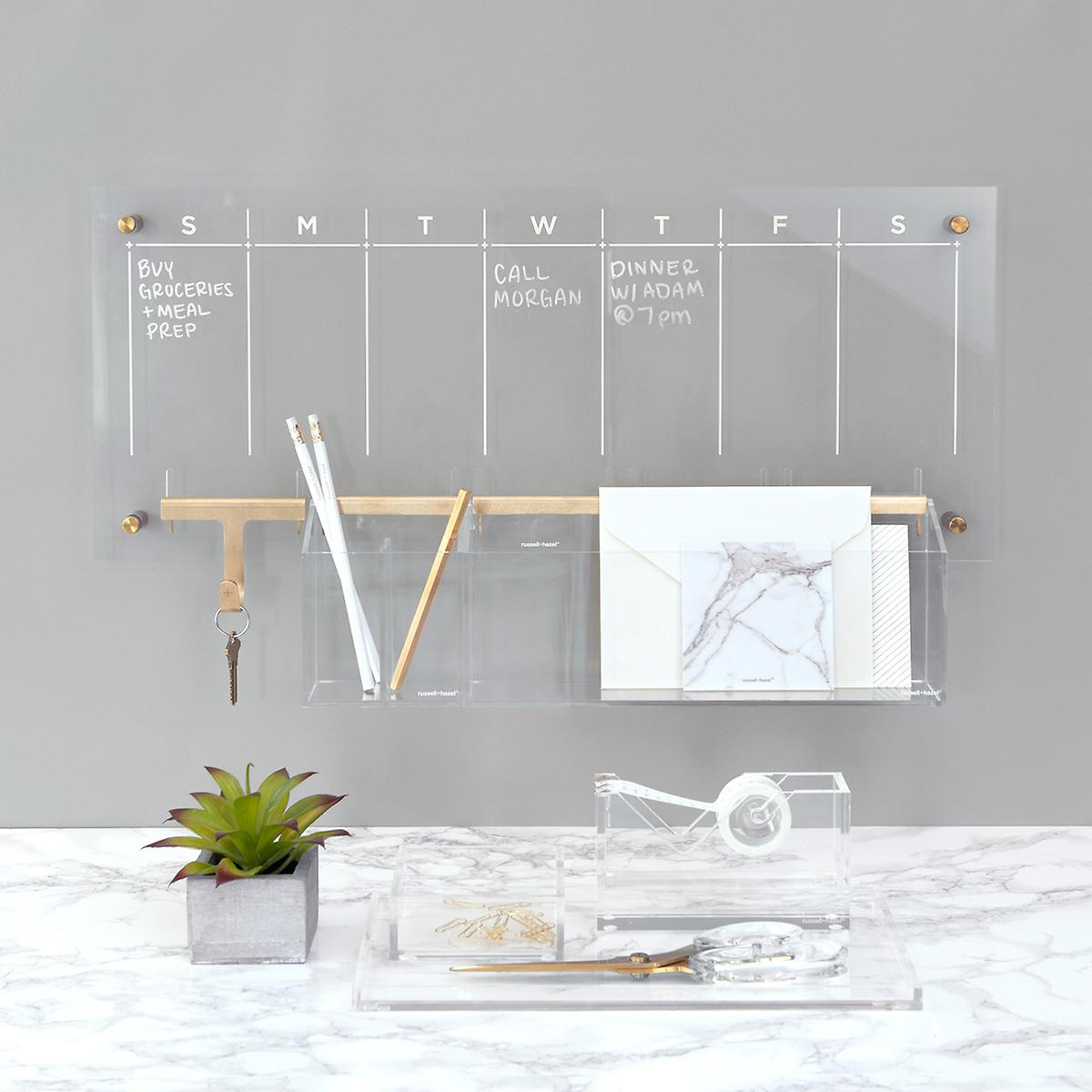 Russell Hazel Acrylic Clear & Gold Weekly Calendar