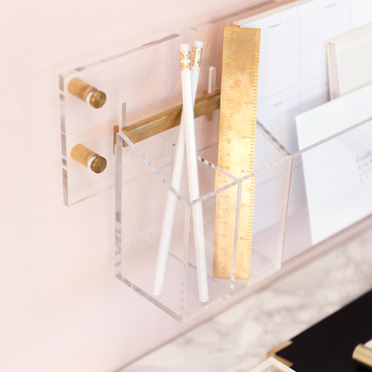 Russell Acrylic Clear & Gold Wall Pencil Cup
