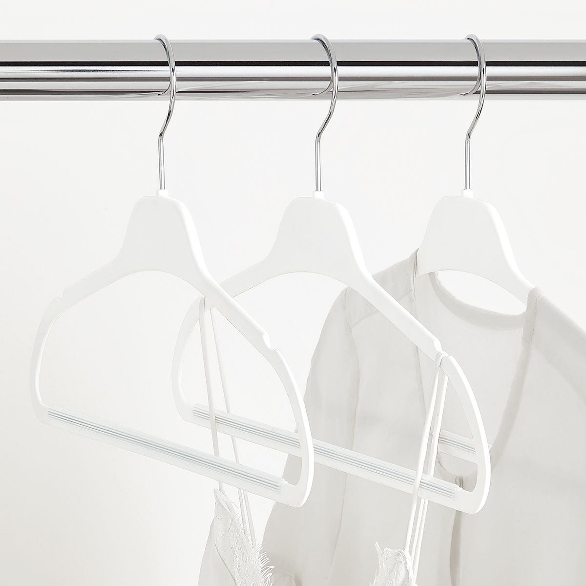 White Non-Slip Rubberized Suit Hangers Case of 40