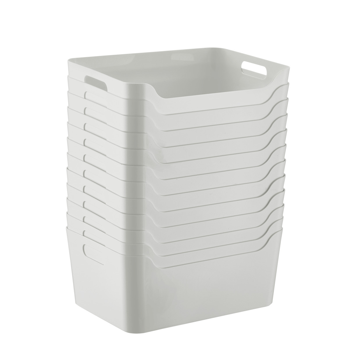 Case of 12 of Smoke Light Grey Storage Bins with Handles