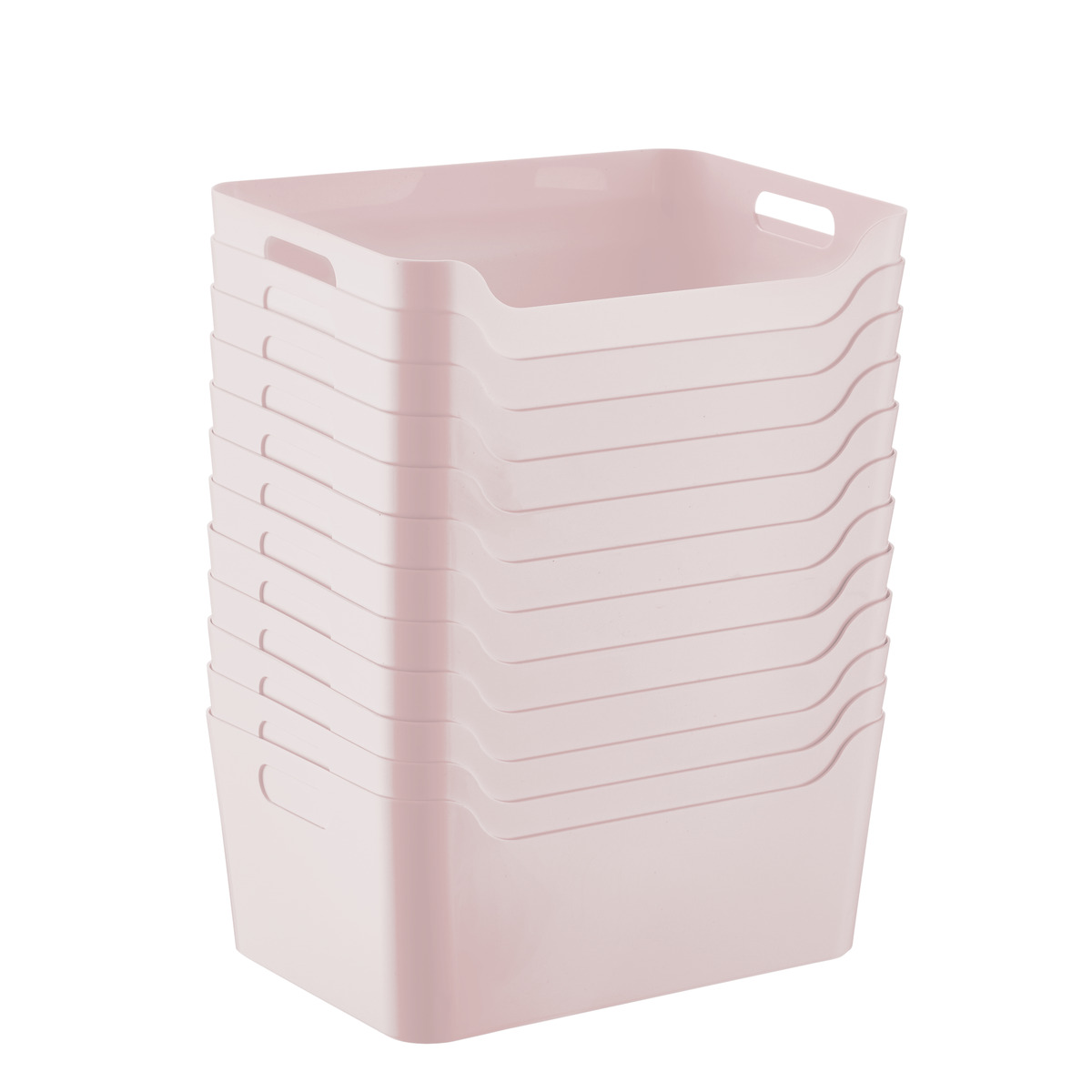 Case of 12 of Smoke Soft Pink Storage Bins with Handles