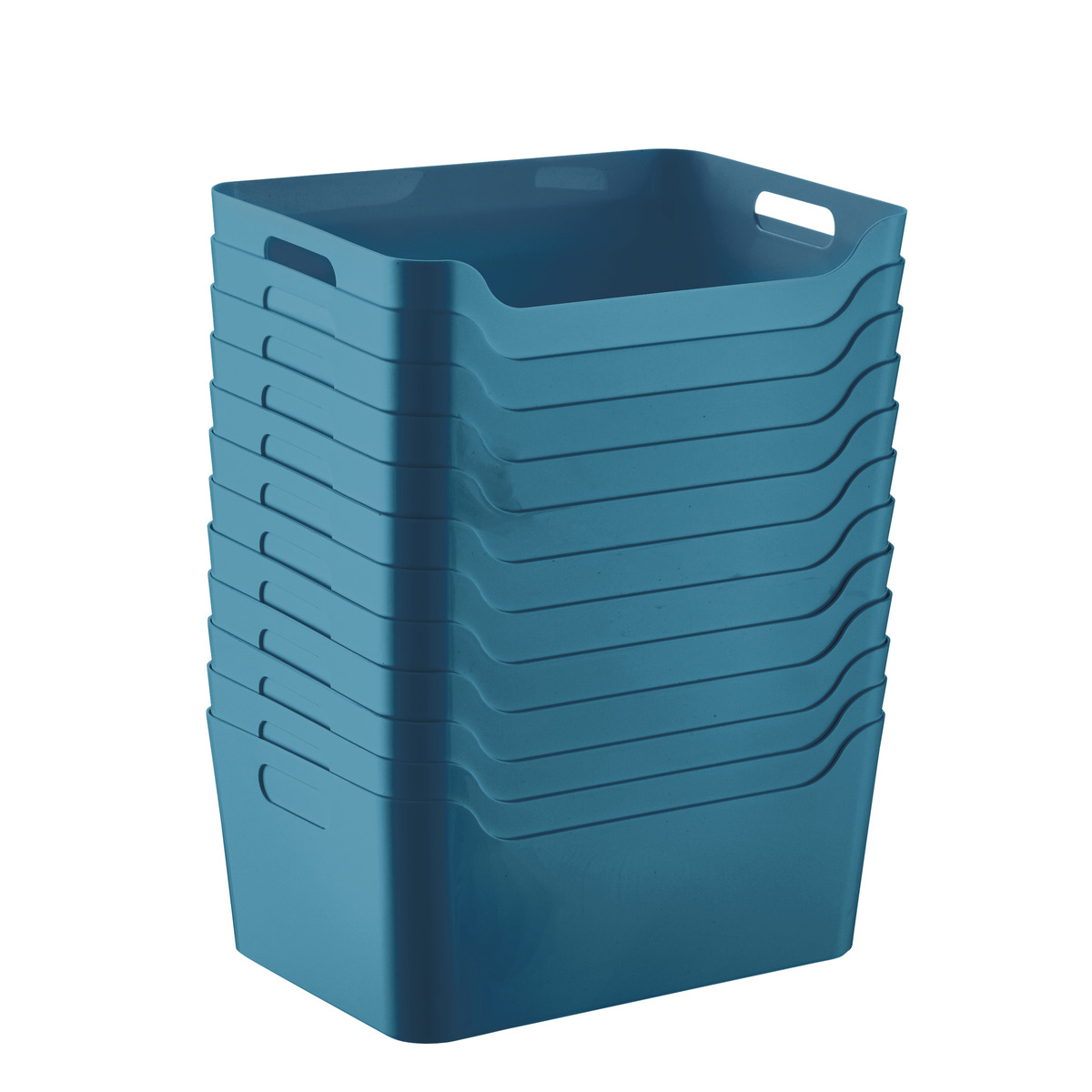 Case of 12 of Teal Plastic Storage Bins with Handles