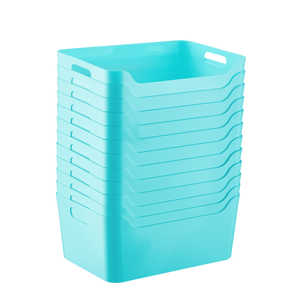Case of 12 of Aquamarine Plastic Storage Bins with Handles