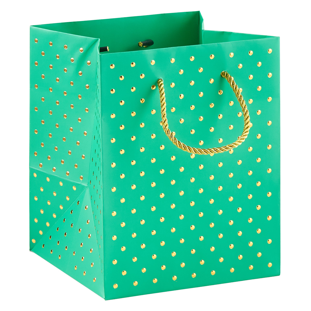 Gold Dot Turquoise Square Gift Bag