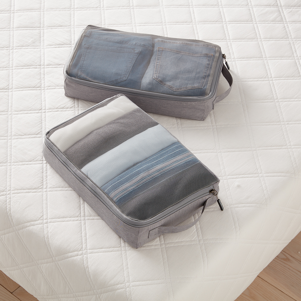 Heather Grey Large Packing Cubes Set of 2