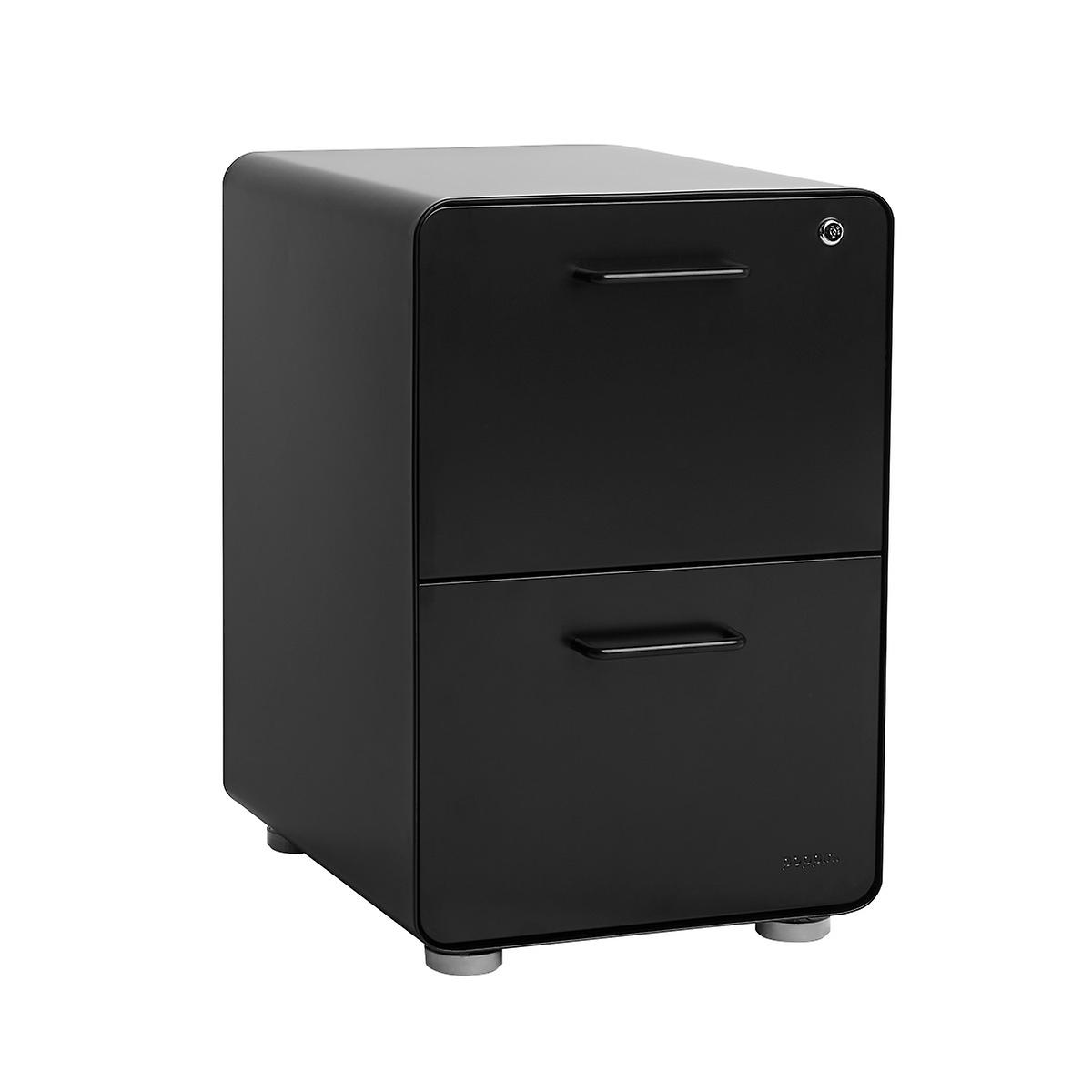 Poppin Matte Black 2-Drawer Stow Locking Filing Cabinet