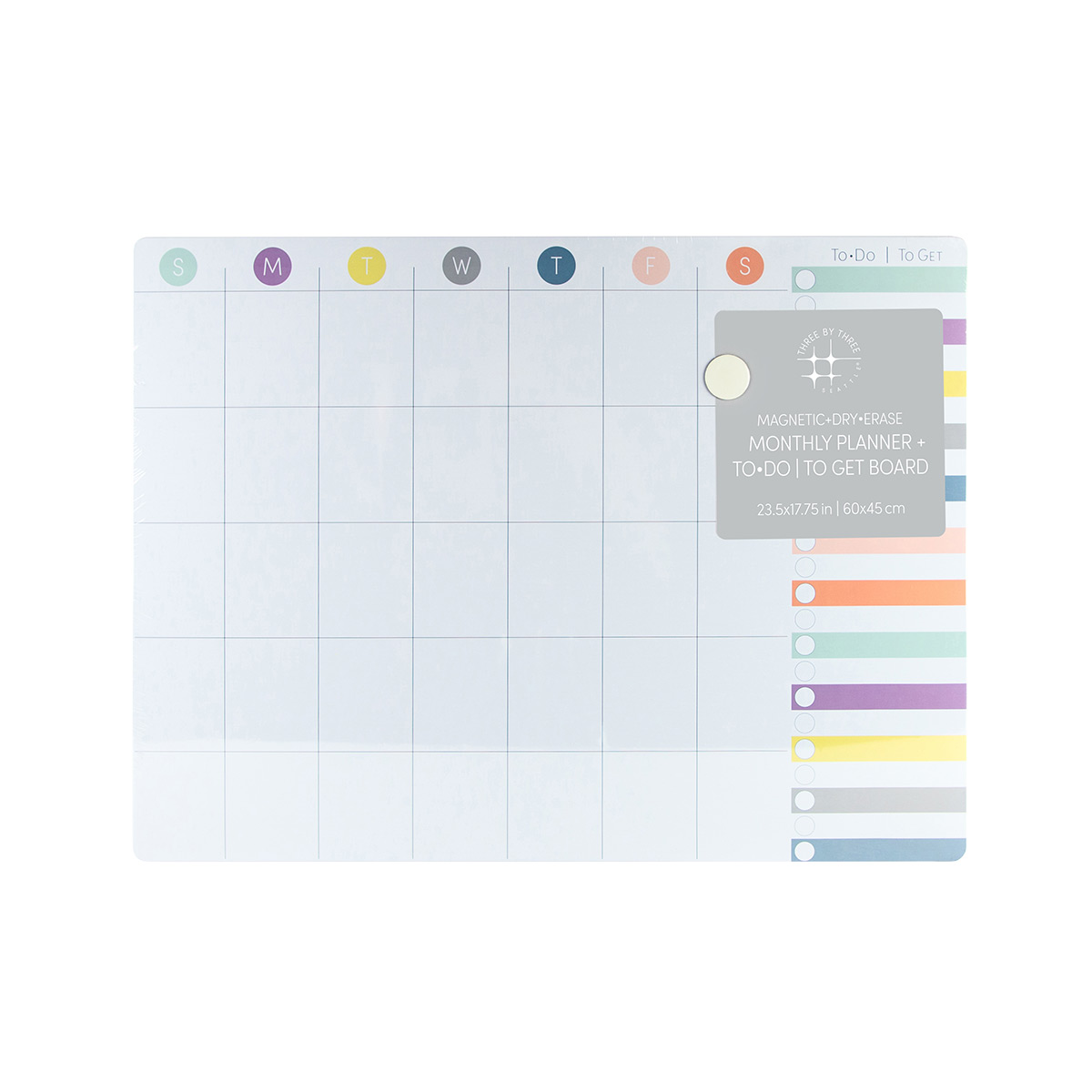 Three by Three Multicolor Monthly Dry Erase Board