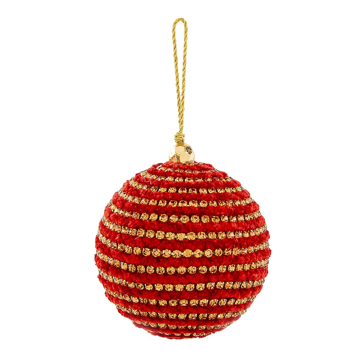 Red Crystal Ball Tie-On Ornament
