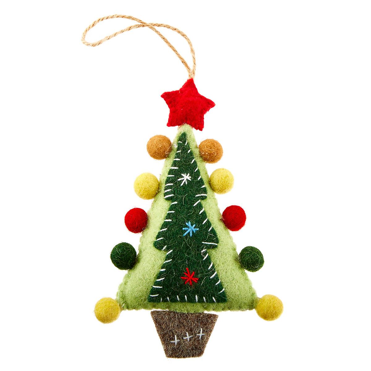 Felt Tree with Red Star Tie-On Ornament