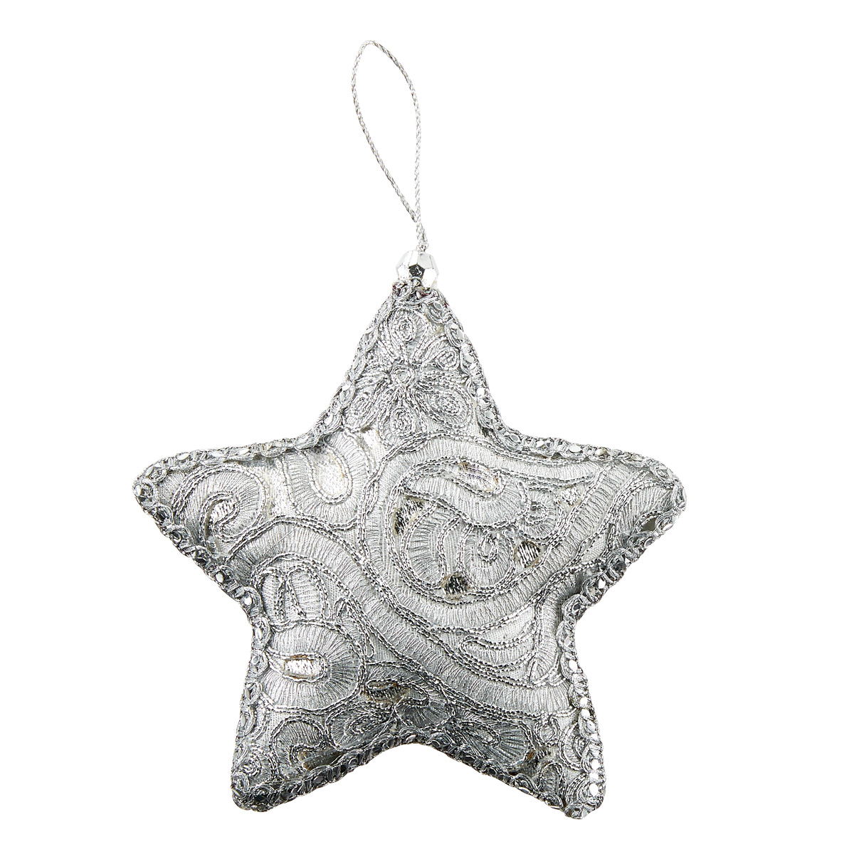 Metallic Embroidered Star Tie-On Ornament