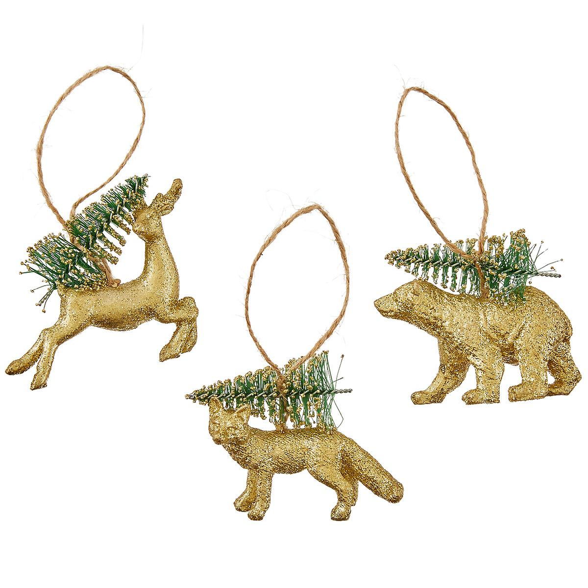 Gold Animals with Sisal Tree Tie-On Ornament
