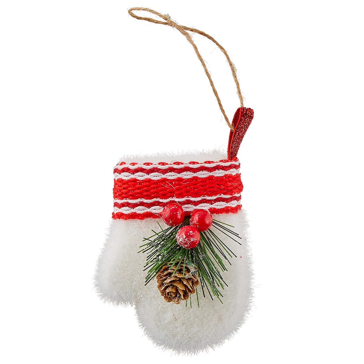 White Glove with Holly Felt Tie-On Ornament