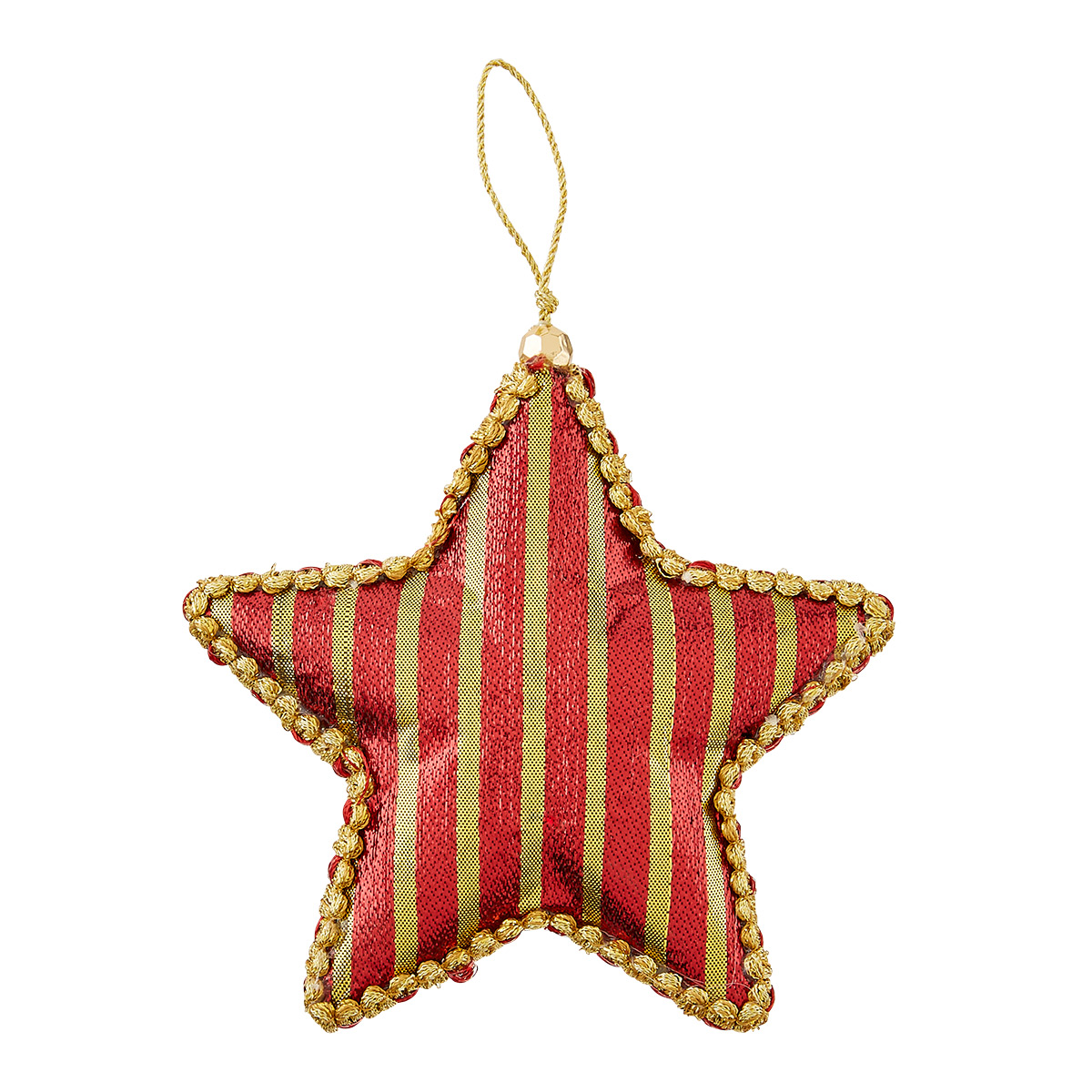 Red Strip Star Tie-On Ornament