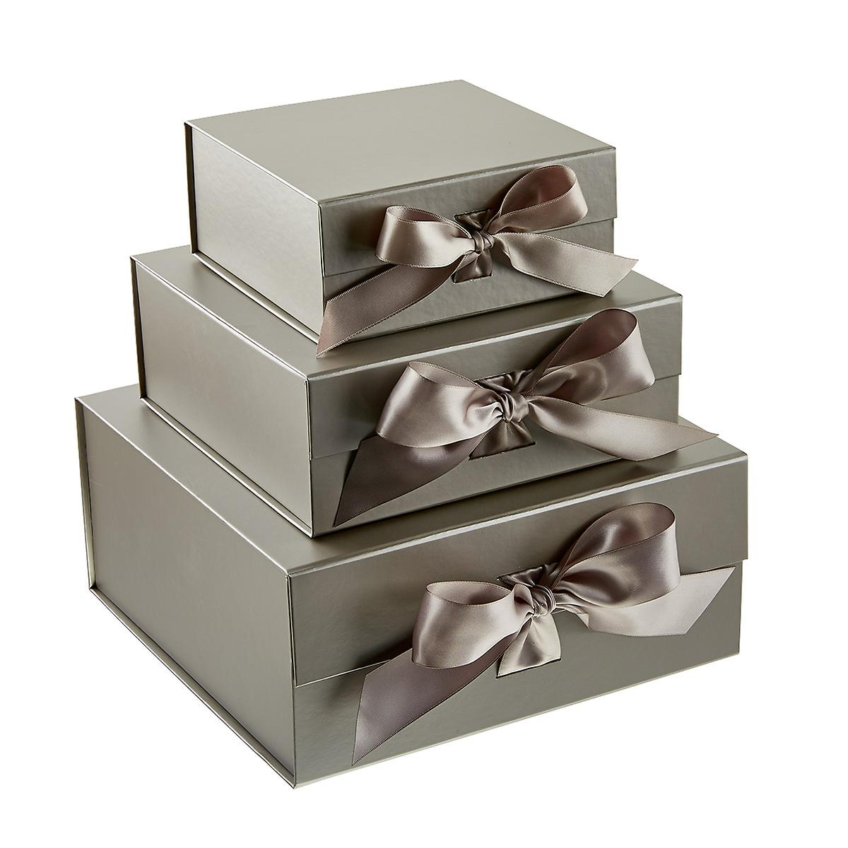 Silver Collapsible Box with Bow
