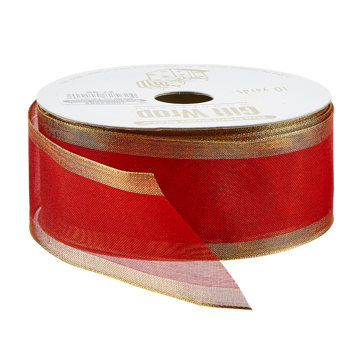 Red with Gold Edge Wired Ribbon