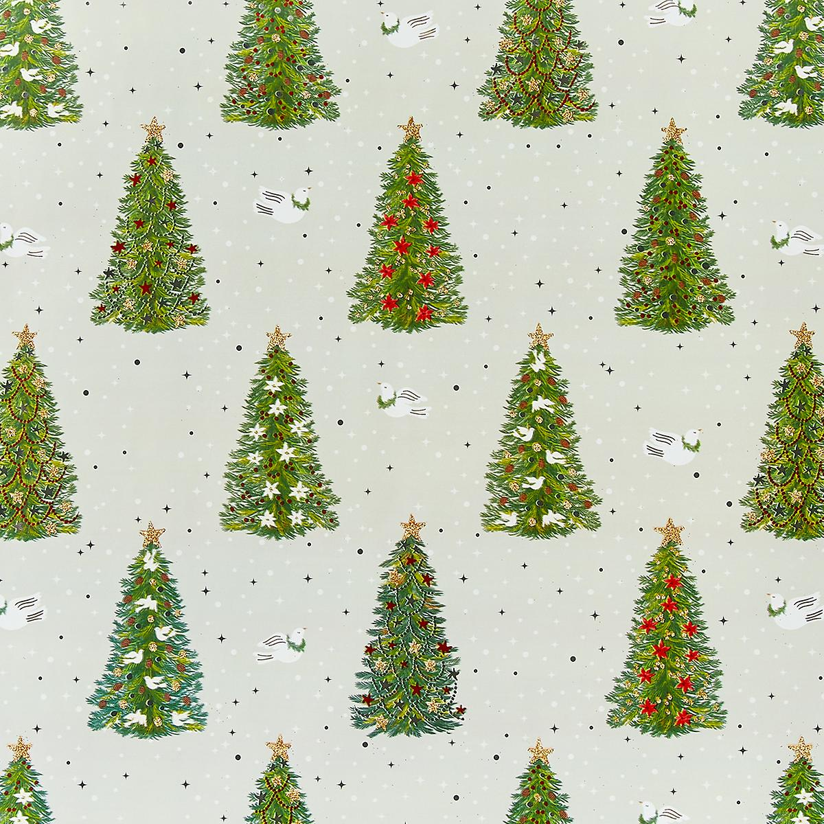 Papyrus Pine Trees and Doves Wrapping Paper