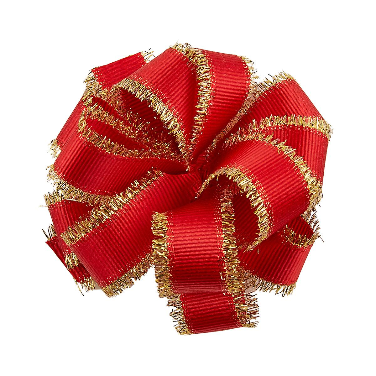 Papyrus Red Pom Pom Bow with Gold Fringe