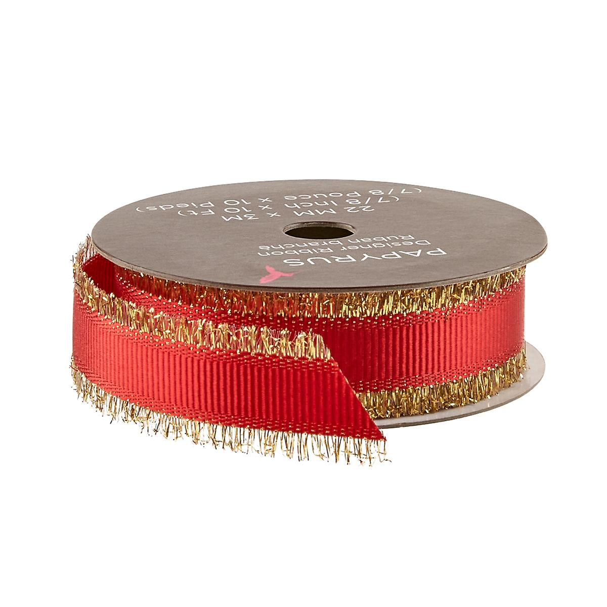 Papyrus Red & Gold Ribbon with Fringe