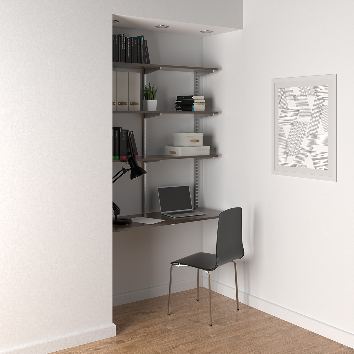 Driftwood & Platinum Elfa Wall-Mounted Desk