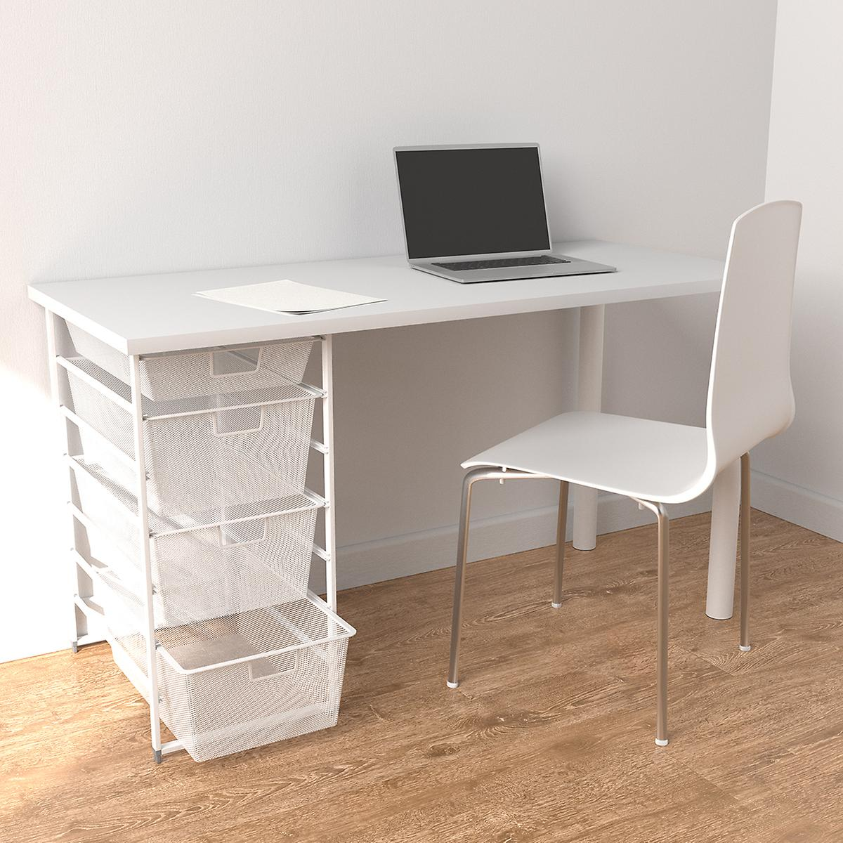 Elfa White Desk with Drawers