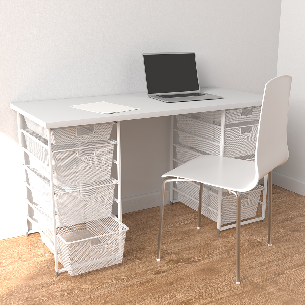 Elfa White Desk with Double Drawers