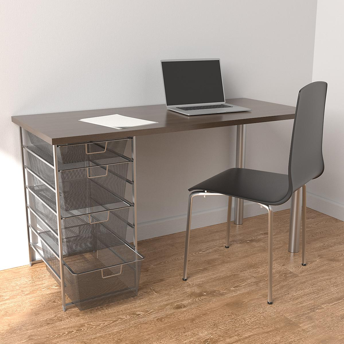 Elfa Platinum & Driftwood Desk with Drawers