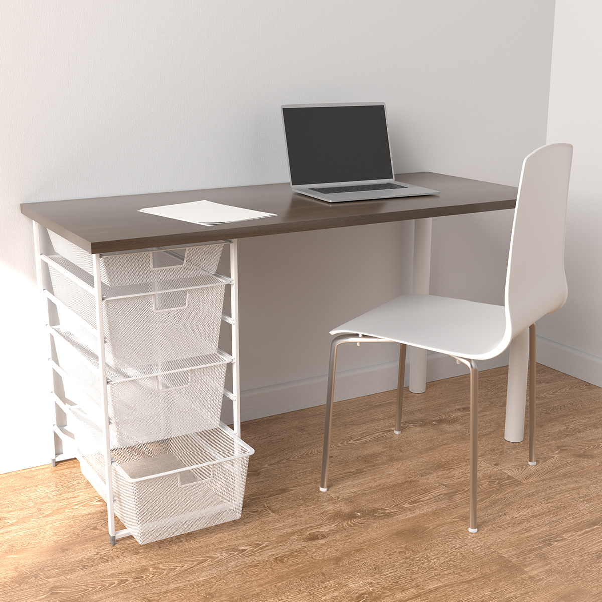 Elfa White & Driftwood Desk with Drawer