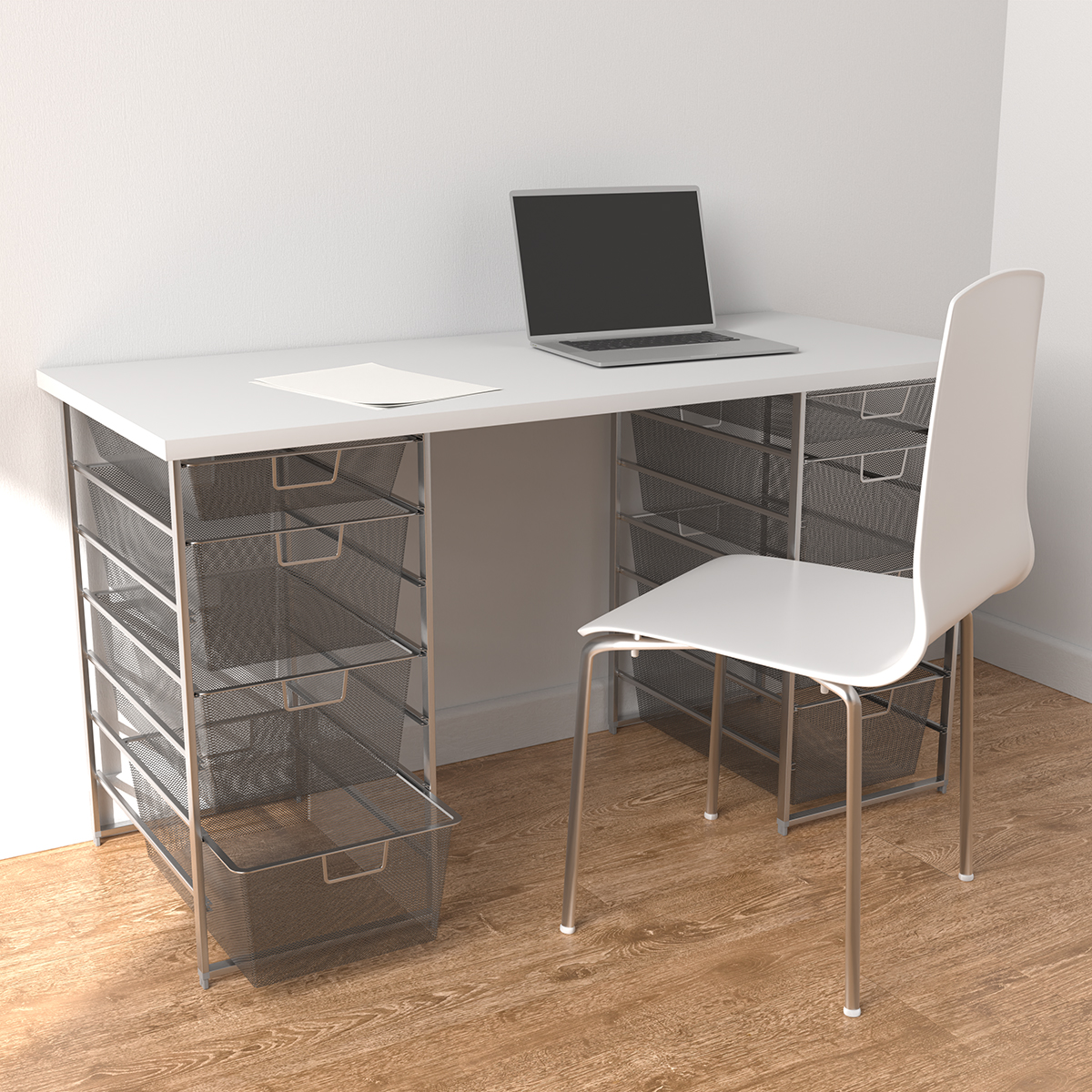 Elfa Platinum & White Desk with Double Drawer