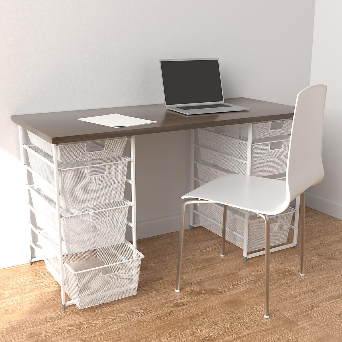 Elfa White & Driftwood Desk with Double Drawer