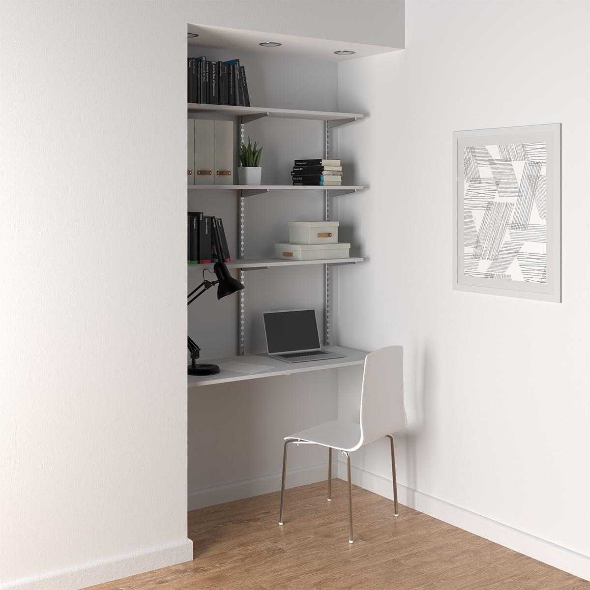 Elfa Platinum & White Wall-Mounted Desk